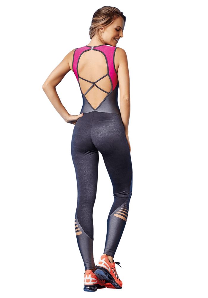 CAJUBRASIL 7578 Sexy Workout Romper Jumpsuit Laser Gray