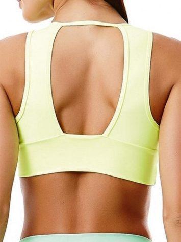 CAJUBRASIL 2944 Sexy Sports Bra Top SU Basic UP Neon Yellow