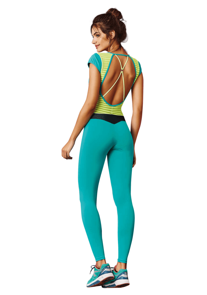 CAJUBRASIL 7577 Sexy Workout  Romper Jumpsuit Impact Teal