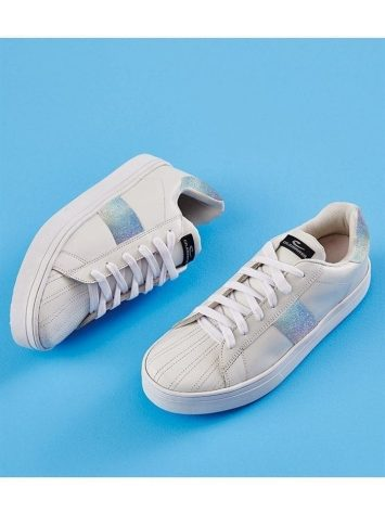 CAJUBRASIL 6810 Tennis Sneaker Shoes White Silver Stripe