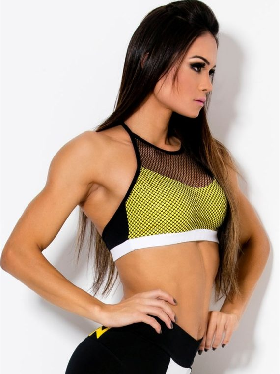 CANOAN  Sports Bra TOP 70460 Yellow BK Sexy Workout Tops
