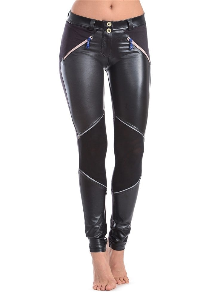 FREDDY WR.UP SHAPING EFFECT - LOW WAIST - SKINNY - FAUX LEATHER MESH Design