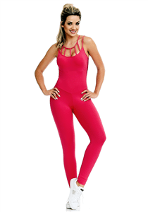 CAJUBRASIL Jumpsuit 8154 Sexy Workout  Romper Coral