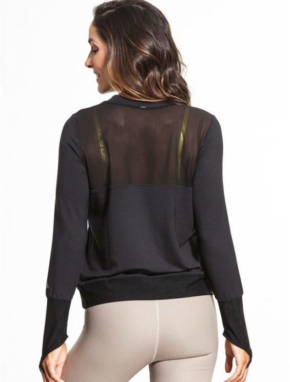 ALO Yoga Serene Long Sleeve Top -Sexy Yoga Tops Black
