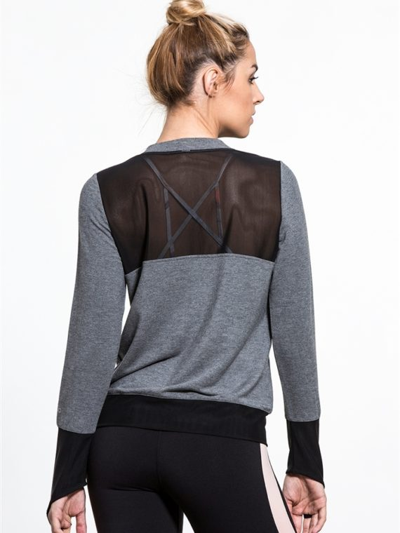 ALO Yoga Serene Long Sleeve Top -Sexy Yoga Tops Heather