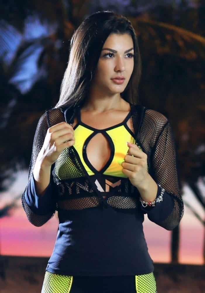 DYNAMITE Long Sleeve Top Net Hooded Blusa BL2015-Sexy Tops