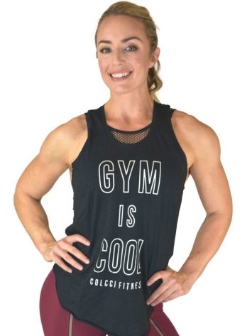 COLCCI FITNESS Tank Top 385700109 Design Cuts Gym is Cool Black