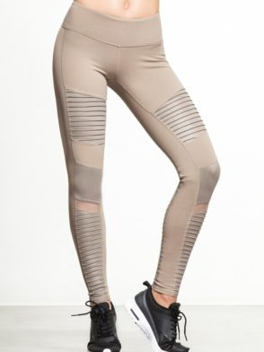 ALO Yoga Moto Yoga Leggings Gravel Glossy Leggings