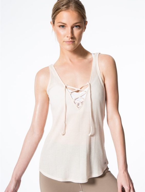 ALO Yoga Interlace Tank Top -Sexy Yoga Tops Rich Sand