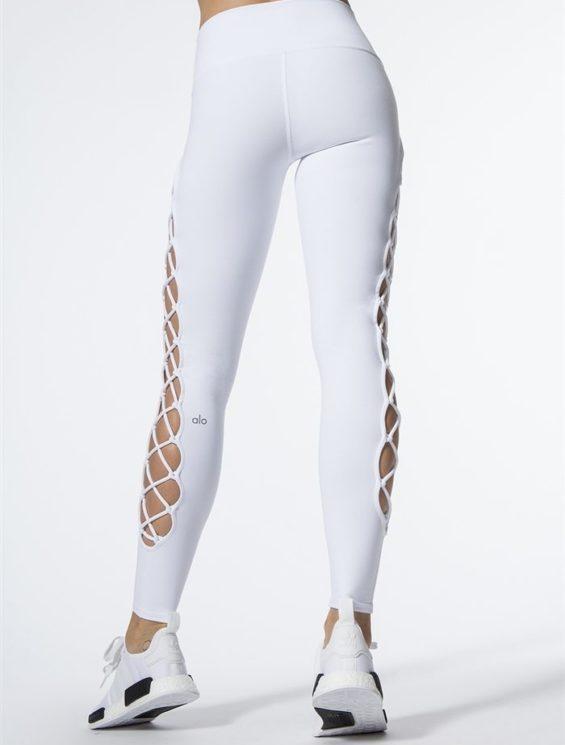 ALO Yoga Interlace Leggings Sexy Yoga Pants - white