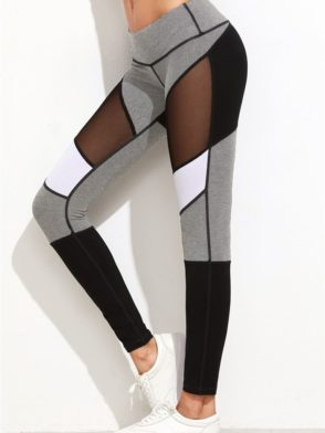 72323413b0e64 ECO Color Block Jersey Mesh Insert Leggings Yoga Pilates Leggings Black ...
