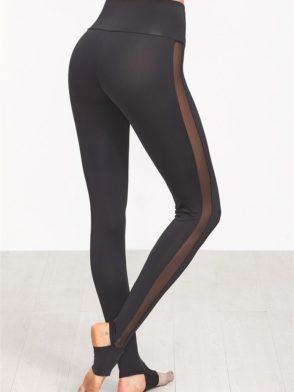 e017f0cf99afb ... ECO Black Wide Waistband Mesh Insert Stirrup Leggings Yoga Pilates  Leggings Black