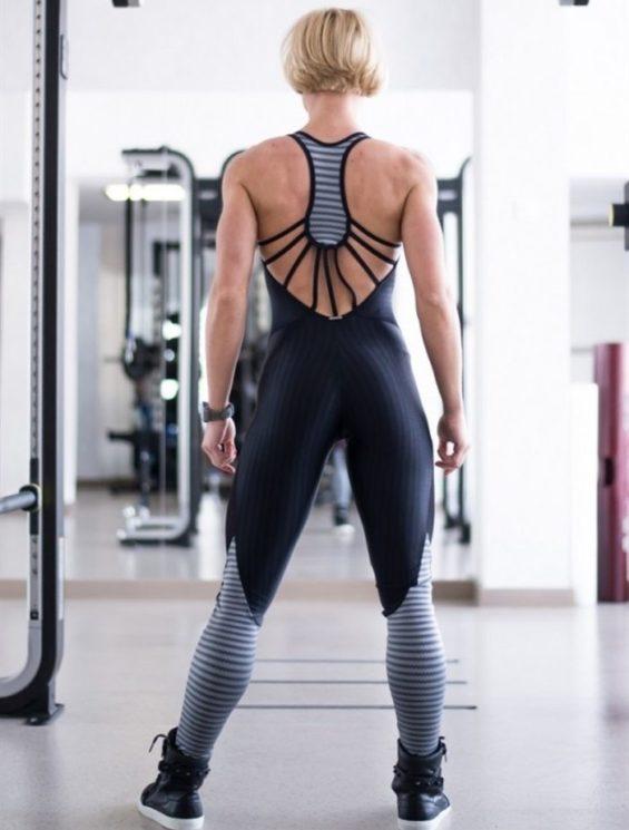 CAJUBRASIL 6937 Sexy Workout One-Piece Bodysuit Sportswear Black