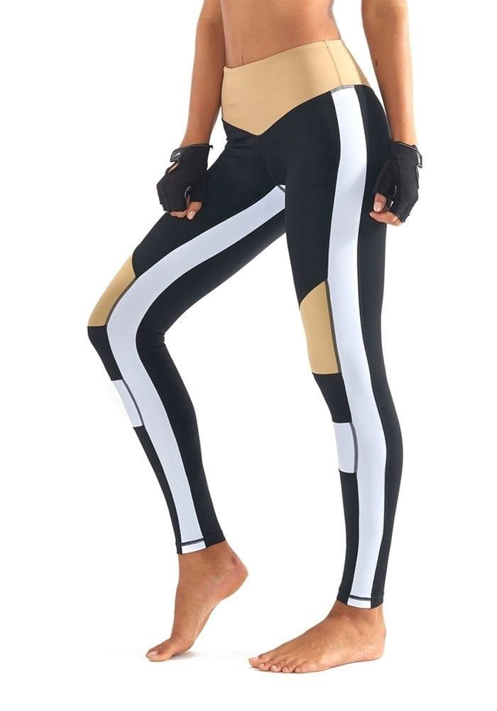 L'URV Leggings BURN IT UP Leggings Sexy Workout Tights Black White LG