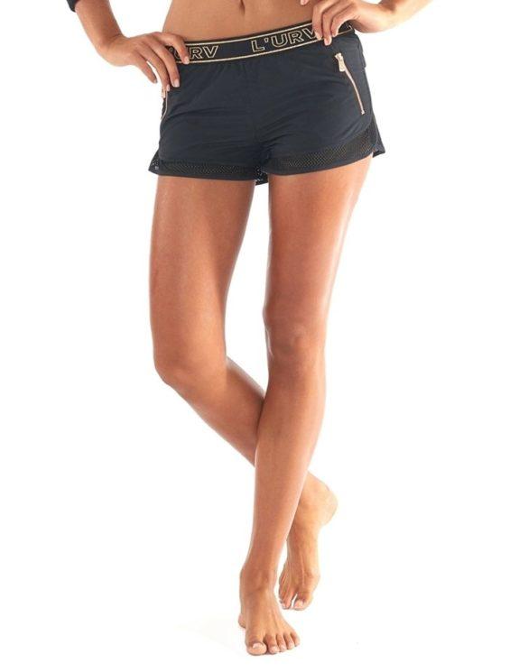 L'URV Shorts Energize Me Zip Shorts Sexy Workout Shorts Black