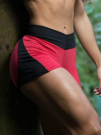 DYNAMITE SHORTS SH2094 RED AND BLACK BOOTY -SEXY SHORTS
