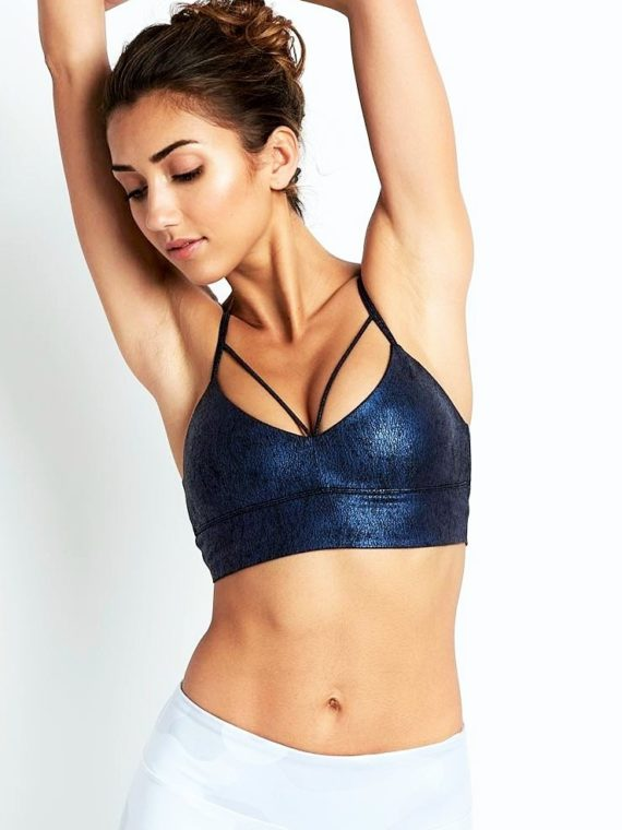ALO Yoga Bra Spotlight Bra -Sexy Workout Bra Tops Saltwater Metallic
