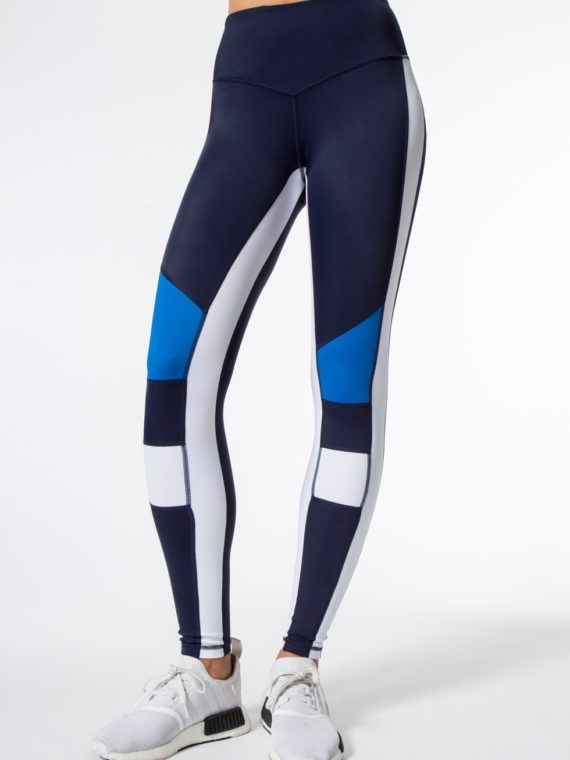 L'URV Leggings BURN IT UP Leggings Sexy Workout Tights Navy WH Blue