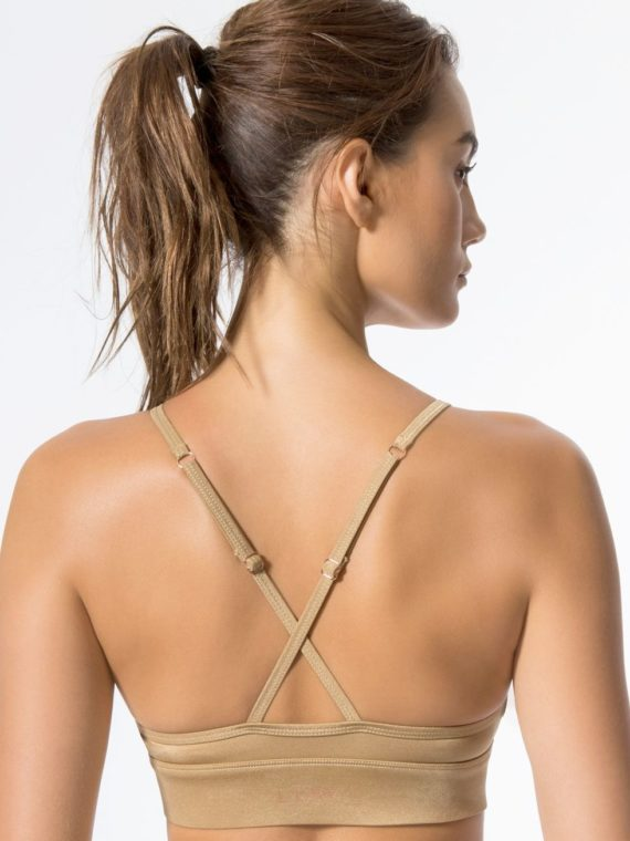 L'URV Sports Bra Shimmer Me Bralette Sexy Workout Top Lemon Gold