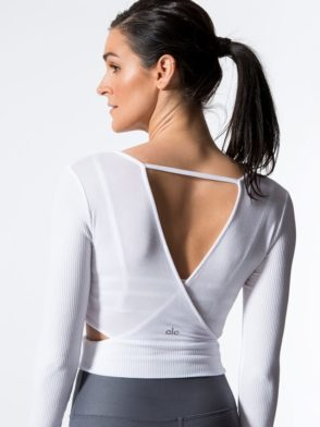 ALO Yoga Aura Crop Top Long Sleeve -Sexy Yoga Tops White