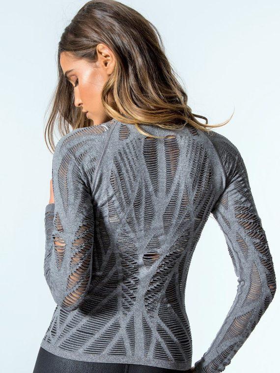 ALO Yoga Wanderer Long Sleeve Top -Sexy Yoga Tops Charcoal Heather