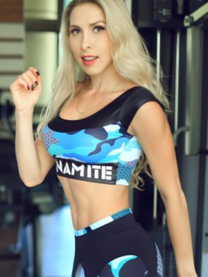 DYNAMITE BRAZIL Sports Bra Top T220 Fitness Blue Camo-Sexy Mesh Tops