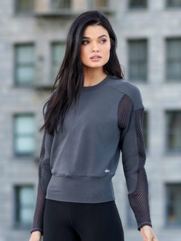 ALO Yoga Long Sleeve Top Formation – Sexy Yoga Tops Anthricite