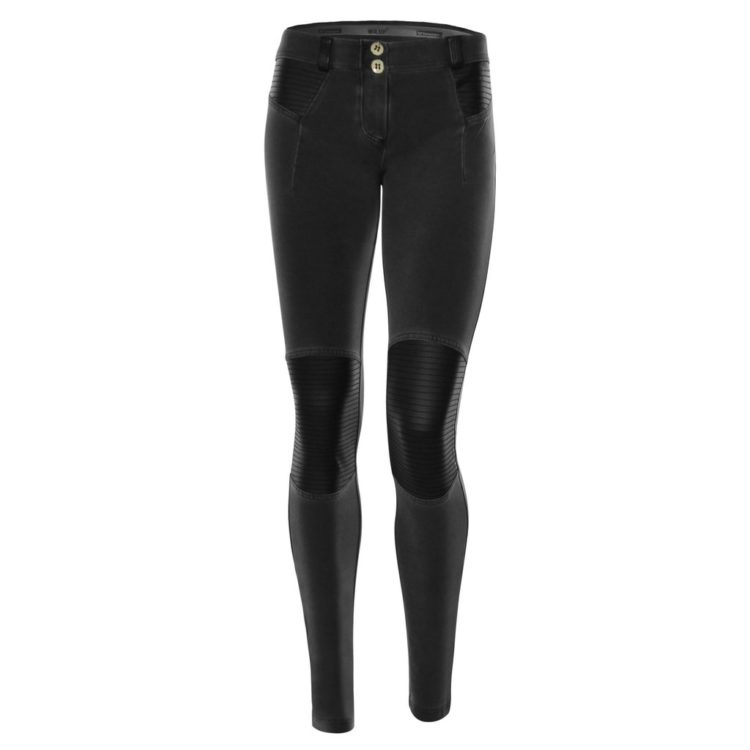 WR.UP® SKINNY DIRTY DENIM EFFECT WITH BIKER STYLE INSERTS