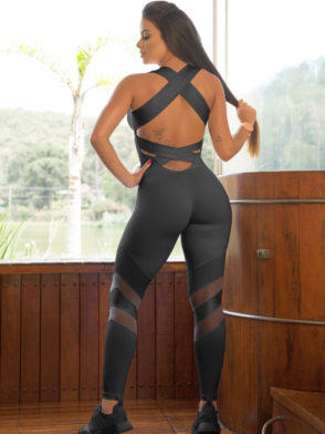 OXYFIT Jumpsuit Relax 15205 Black – Sexy Rompers, Cute Workout 1-Piece
