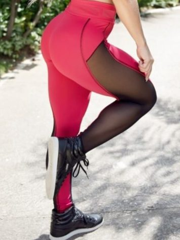 BOMBSHELL BRAZIL Leggings Bright Red Mesh -Sexy Leggings