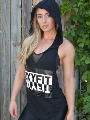 OXYFIT Sleeveless Hoody Colete Contour 46321 Black- Sexy Workout Tops