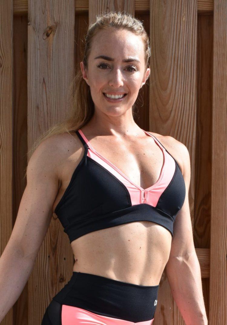 OXYFIT Bra Top Ease 27126 Black Peach- Sexy Workout Bra - Cute Yoga Top