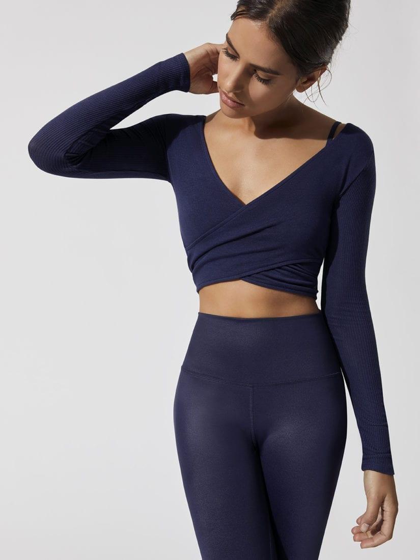 688f52bf6cc18 ALO Yoga Amelia Top Long Sleeve Crop Top -Sexy Yoga Top Rich Navy