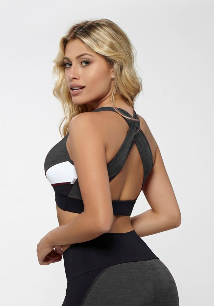 OXYFIT Bra Top Reach 27138 Charcoal Heather- Sexy Workout Bra - Cute Yoga Top