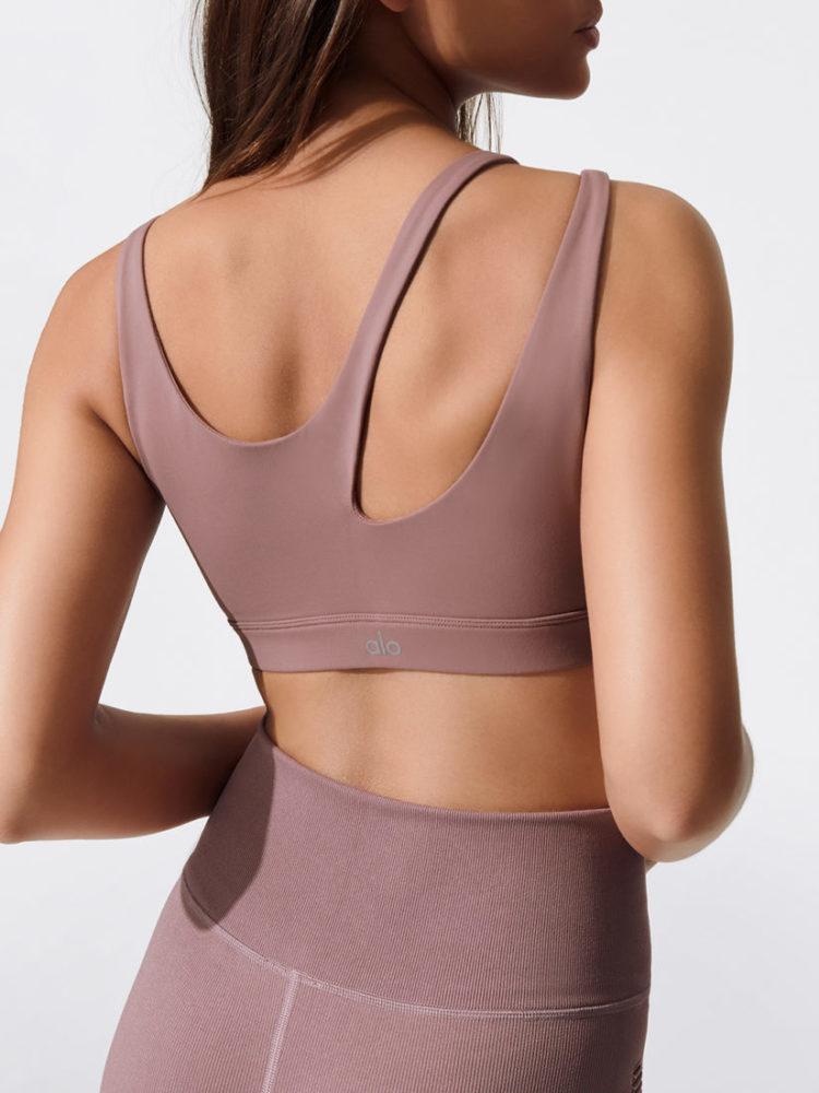 ALO Yoga Bra Peak Bra -Sexy Workout Bra Tops Smoky Quartz