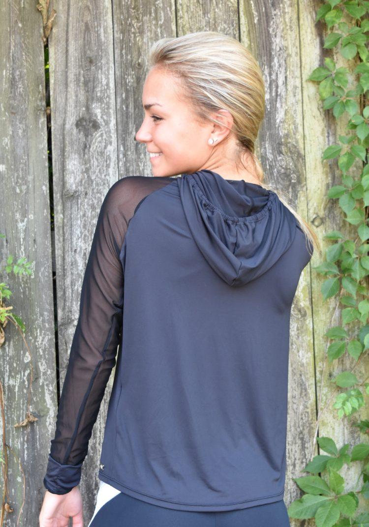 OXYFIT Long Sleeve Hoody Top Blusa Tabata 46378 Black- Sexy Workout Tops