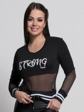 OXYFIT Long Sleeve Top Blusa Strong 46400 Black- Sexy Workout Tops