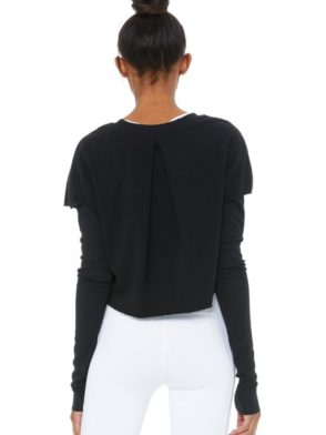 ALO Yoga Long Sleeve Top Uplift - Sexy Yoga Tops BK