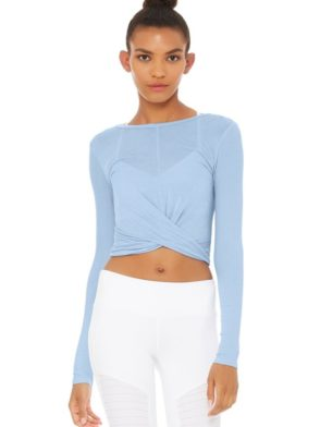 ALO Yoga Cover Long Sleeve Crop Top -Sexy Yoga Top UV BLue