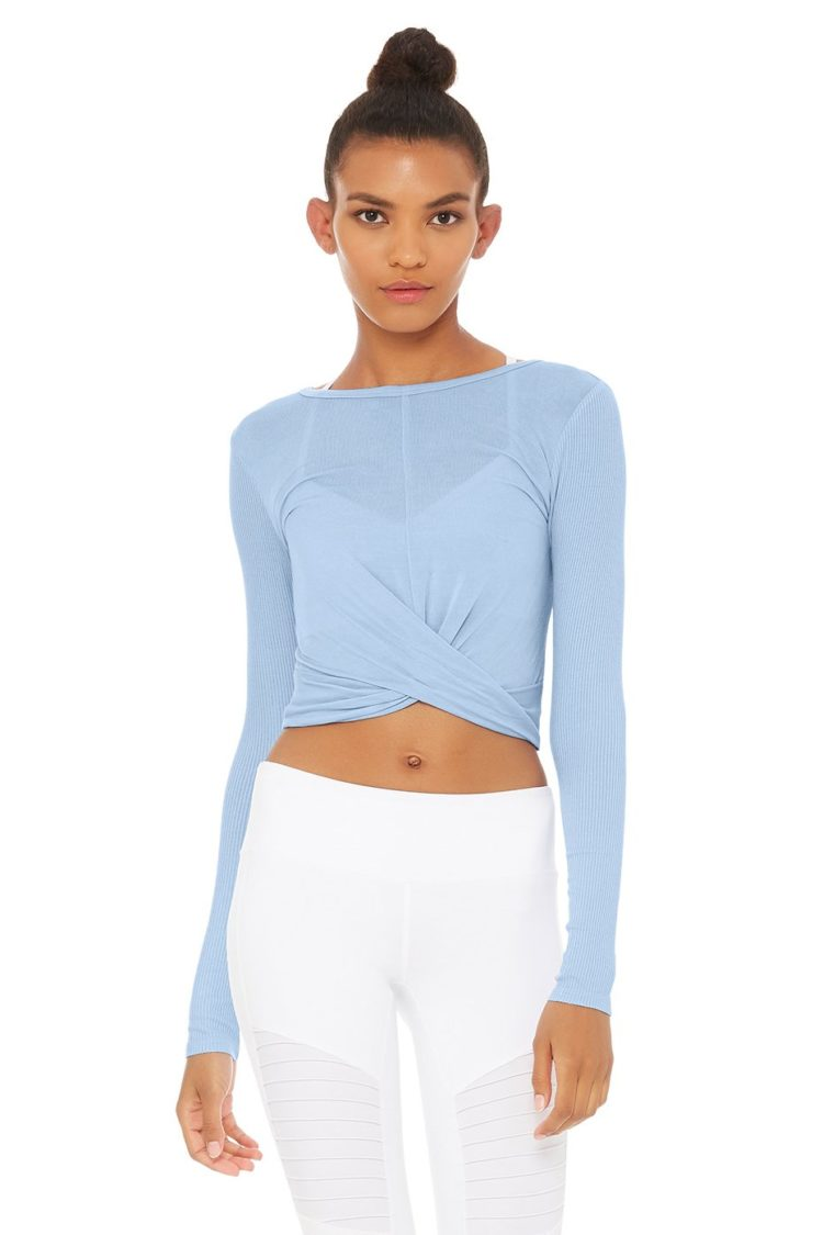 52e618f3aaadd ALO Yoga Cover Long Sleeve Crop Top -Sexy Yoga Top UV BLue