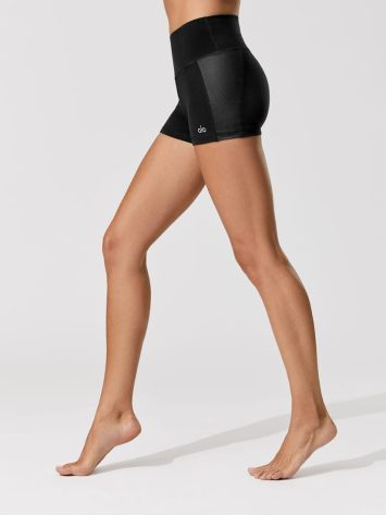 ALO YOGA Elevate Shorts Black Black Glossy – Sexy Workout Shorts-Booty Shorts