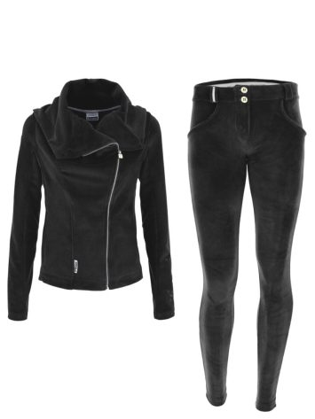 FREDDY WR.UP Chenille Tracksuit with leather Jacket-style top & bottom – black – S9WTRK5